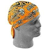 Orange Tribal Skull Flydanna Doo Rag Headwrap Cap Biker Liner Durag