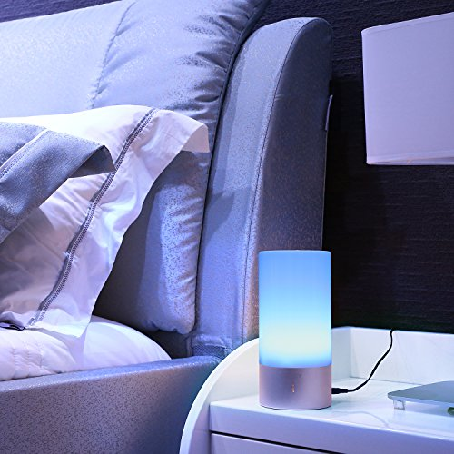 AUKEY Table Lamp, Touch Sensor Bedside Lamps + Dimmable Warm White Light & Color Changing RGB for Bedrooms