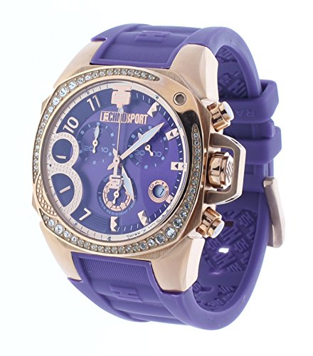 Technosport Radiance Chrono Crystal Accent Bezel Purple Rubber Strap Women's Watch TS-103-10