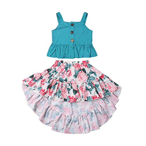 Toddler Baby Girls Floral Boho Skirt Set Summer Outfits Pleated Tank Top+Irregular Maxi Skirts Dress Kids Clothes 4-5T