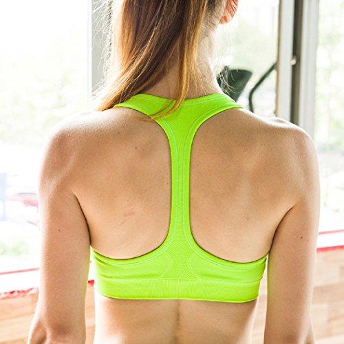 Mujer Shock Absorber Sujetador Deportivo Sin Aros Running Yoga Aptitud Sujetador Push up Suave Respirable Verde fluorescente