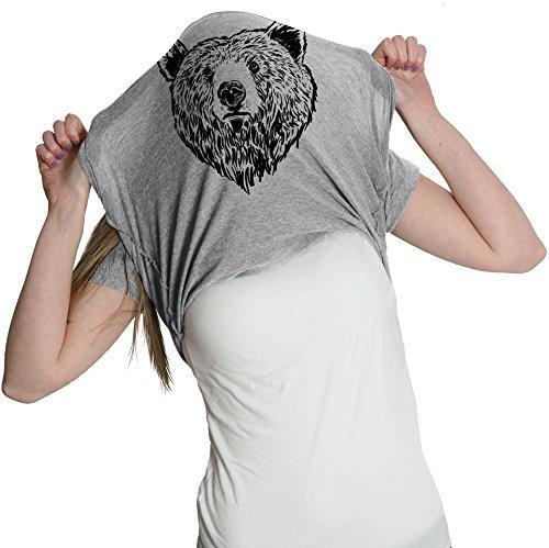 Womens Grizzly Bear T Shirt Funny Bear Hug Shirt Humorous T Shirt Novelty Tees (Heather Grey) - M ()