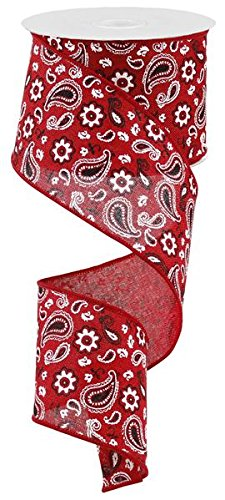 Bandana Wired Edge Ribbon (Red Black White) - 2.5 Inch x 50 Yards -