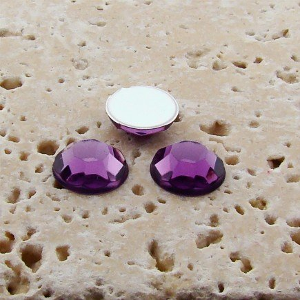 PlasticBeadsWholesale Jewel-Tone Faceted Round Cabochons | Plastic Acrylic Lucite Flatback Beads for Jewelry Making |Light Amethyst Jewel Tone 11MM Lots of 144
