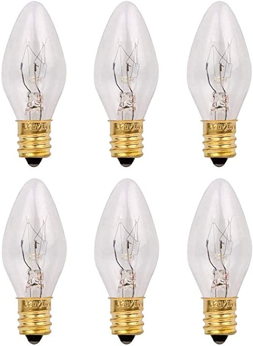 Night Lights /& Chandeliers Fits E12 Sockets with Candelabra Base Candle /& Wax Warmers Games/&Tech 2 Pack 15 Watt Replacement Light Bulb C7 Incandescent Light for Himalyan Salt Lamps