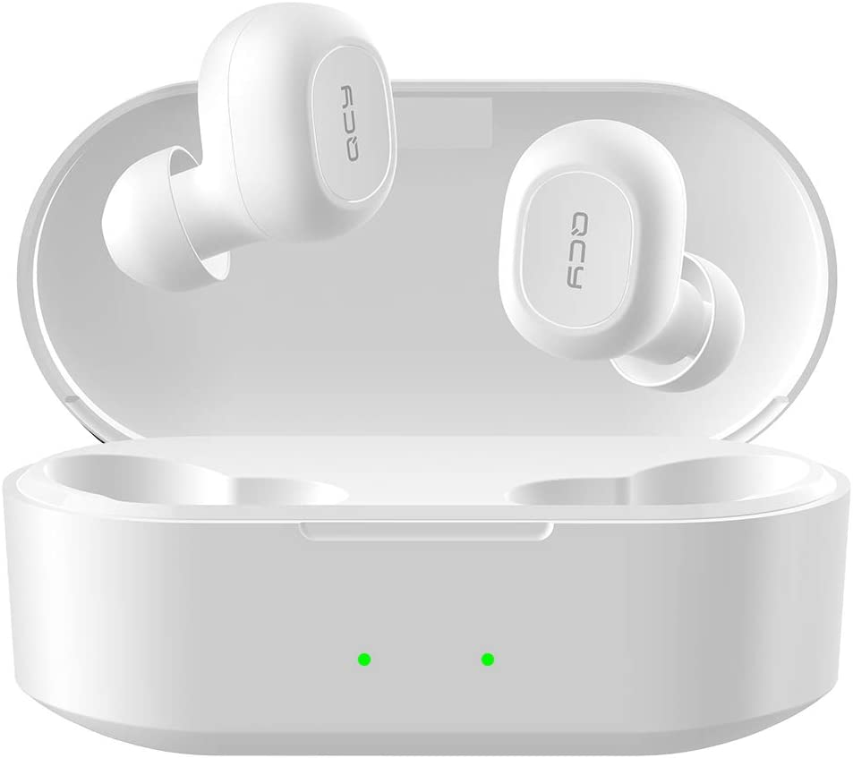 QCY T2C True Wireless Earbuds with Charging Case, TWS 5.0 Bluetooth Headphones, Compatible for iPhone, Android and Other Leading Smartphones, White