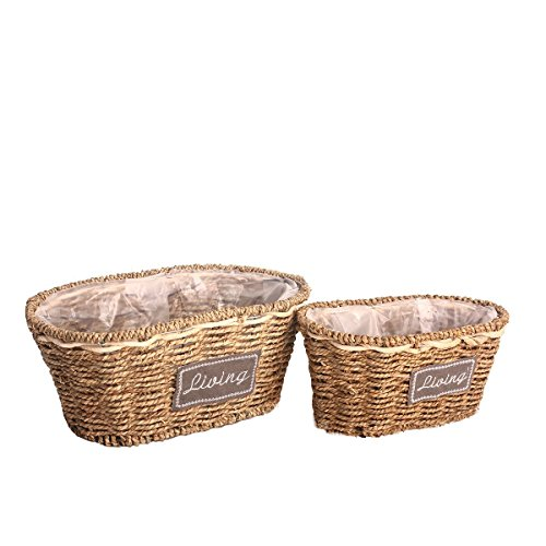 Cuku Cool Hand-Woven Natural Rattan Storage Baskets Flower Vase Fishbowl Containers (2PCS) (Thank You Note For Fruit Basket)