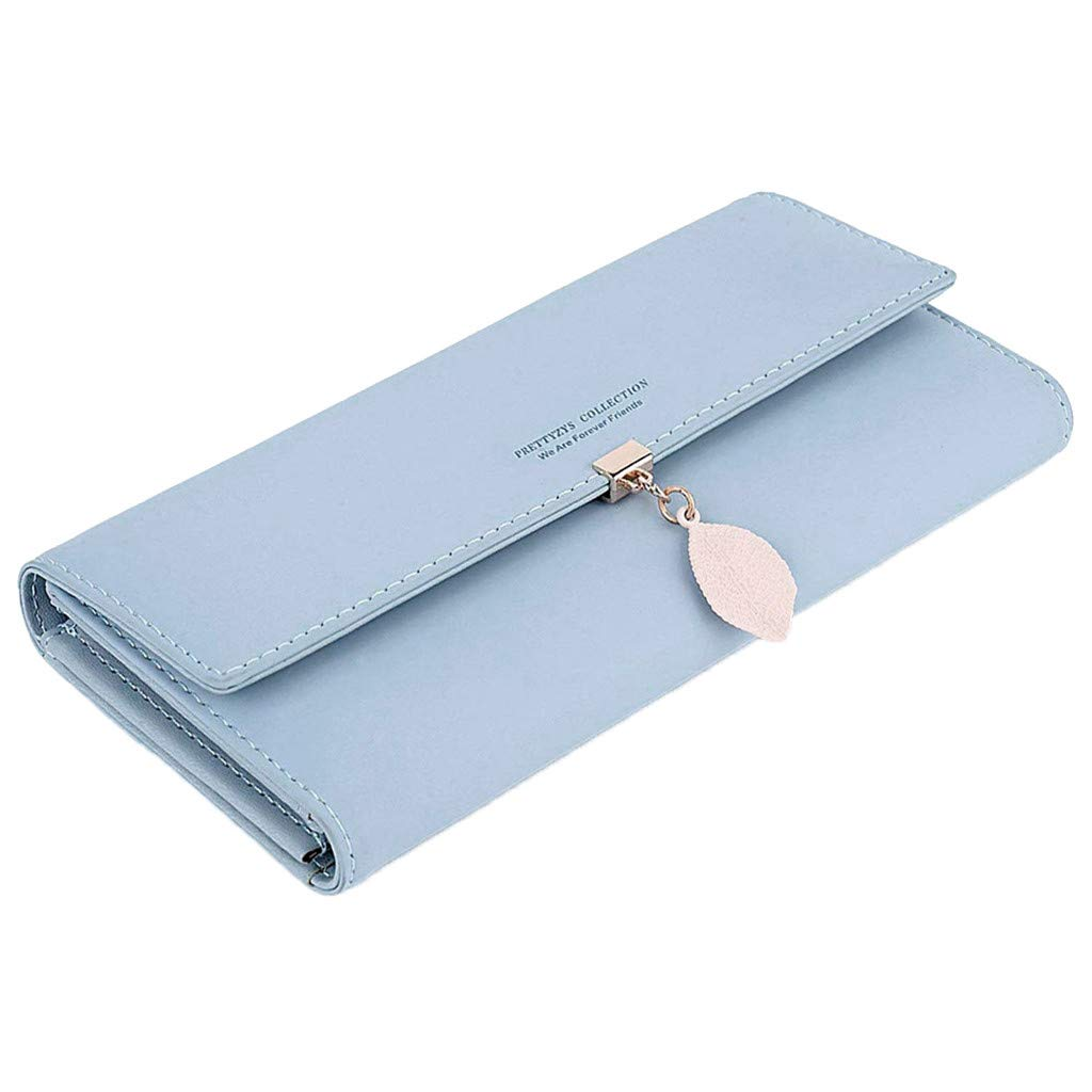 Ansenesna Women Simple Candy Color Long Style Student Card Wallet Multi-Function Folding Coin Purse (Light Blue)