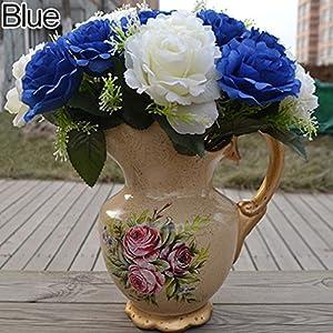 Alcyoneus 1 Bouquet 24 Heads Artificial Faux Silk Rose Flowers Bridal Wedding Decor 9