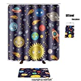 vanfan bath sets Polyester rugs shower curtain seamless pattern cute solar system vector ill shower curtains sets bathroom 72 x 88 inches&31.5 x 19.7 inches(Free 1 towel 12 hooks)