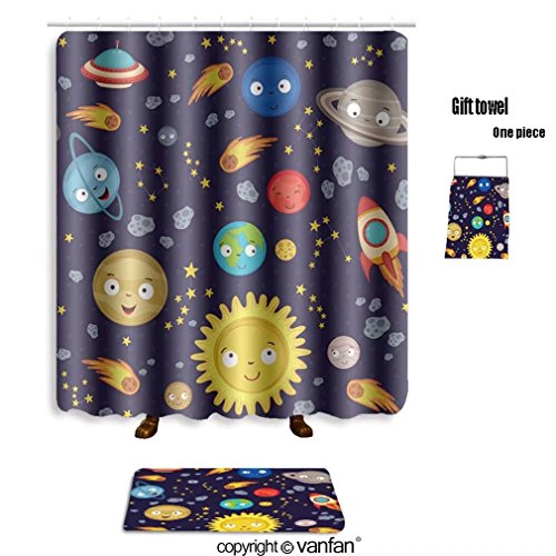 vanfan bath sets Polyester rugs shower curtain seamless pattern cute solar system vector ill shower curtains sets bathroom 72 x 88 inches&31.5 x 19.7 inches(Free 1 towel 12 hooks) by vanfan