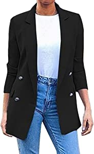 Women's Blazer Coat,Ladies Casual Long Sleeve Buttons Pockets Solid Slim Fit Turn Down Collar Suit Outerwear Jacket