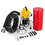 Mophorn 0.75 - 5Inch Sectional Pipe Drain Cleaning Machine 400 RPM 400W Snake Cleaner Pipe Drain Cleaning Machine 66Ft x 0.67Inch Cable