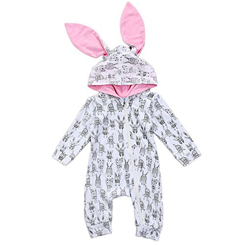 Glosun Baby Boy Girl Bunny Ears Hoodie Romper Long Sleeve Zip Up Jumpsuit Playsuit Outfit Clothes (White, 12-18 Months)