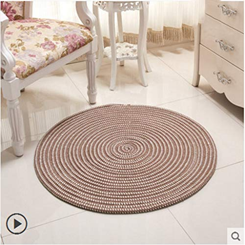 Handmade Knit Round Carpets Living Room Computer Chair Mat Children Play Floor Door Rugs, Diameter 1.3ft