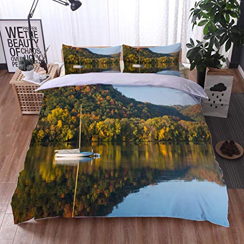 (HOOMORE Bed Comforter - 3-Piece Duvet -All Season, Lake Winona in Autumn,HypoallergenicDuvet-MachineWashable -Twin-Full-Queen-King-Home-Hotel -School)