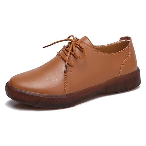 TRULAND Zapatos Planos con Cordones Oxfords Casual para