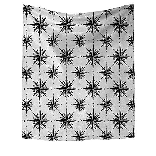 ss Beach Throw Blanket Black White Sketch Style Windrose Discovering Places Nautical Elements Wall Hanging Tapestries 70W x 84L INCH Black White ()
