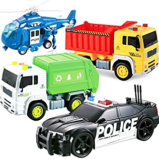 Friction Powered Push and Go Truck Toy - Action City Vehicle Play Set Police Car, Garbage Truck, Construction & Emergency Helicopter Toys for Kids, Boys Ages 2 3 4 5 + Push & Pull w/ Lights & Sounds