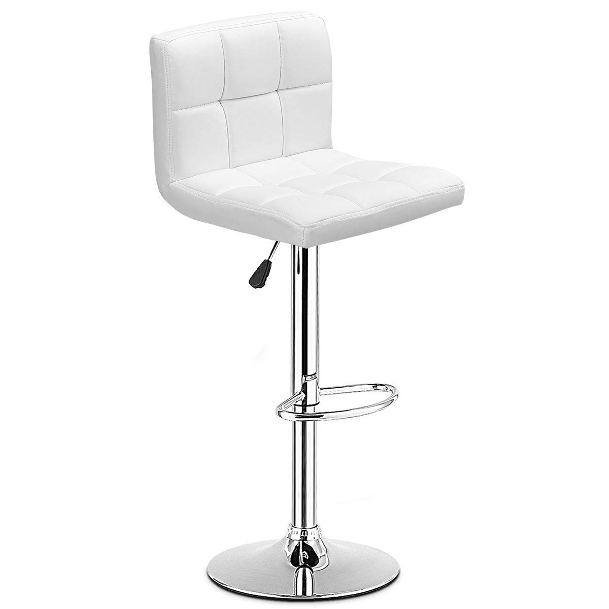COSTWAY Bar Stool, Modern Swivel Adjustable Armless Barstools, Square Counter Height PU Leather Bar Stools for Kitchen Dining Living Bistro Pub Chair Counter Back Barstool(White, 1 Stool)