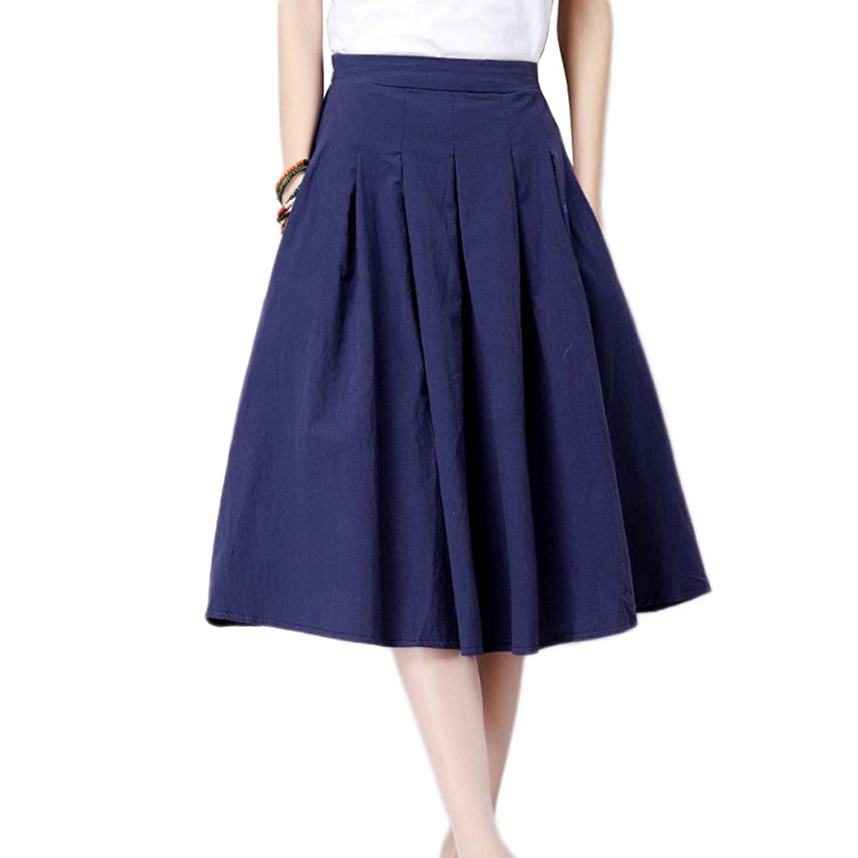 Kaachli Women's Linen Flared Pleated Midi Expansion Midi Skirt