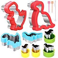 Dinosaur Cookie cutters set, 8pcs Dinosaur Shapes Stainless Steel Sandwich Cutters Cookie Cutters Vegetable cutters for…