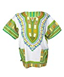 Lofbaz Traditional African Print Unisex Dashiki Size XXXL White and Grass Green