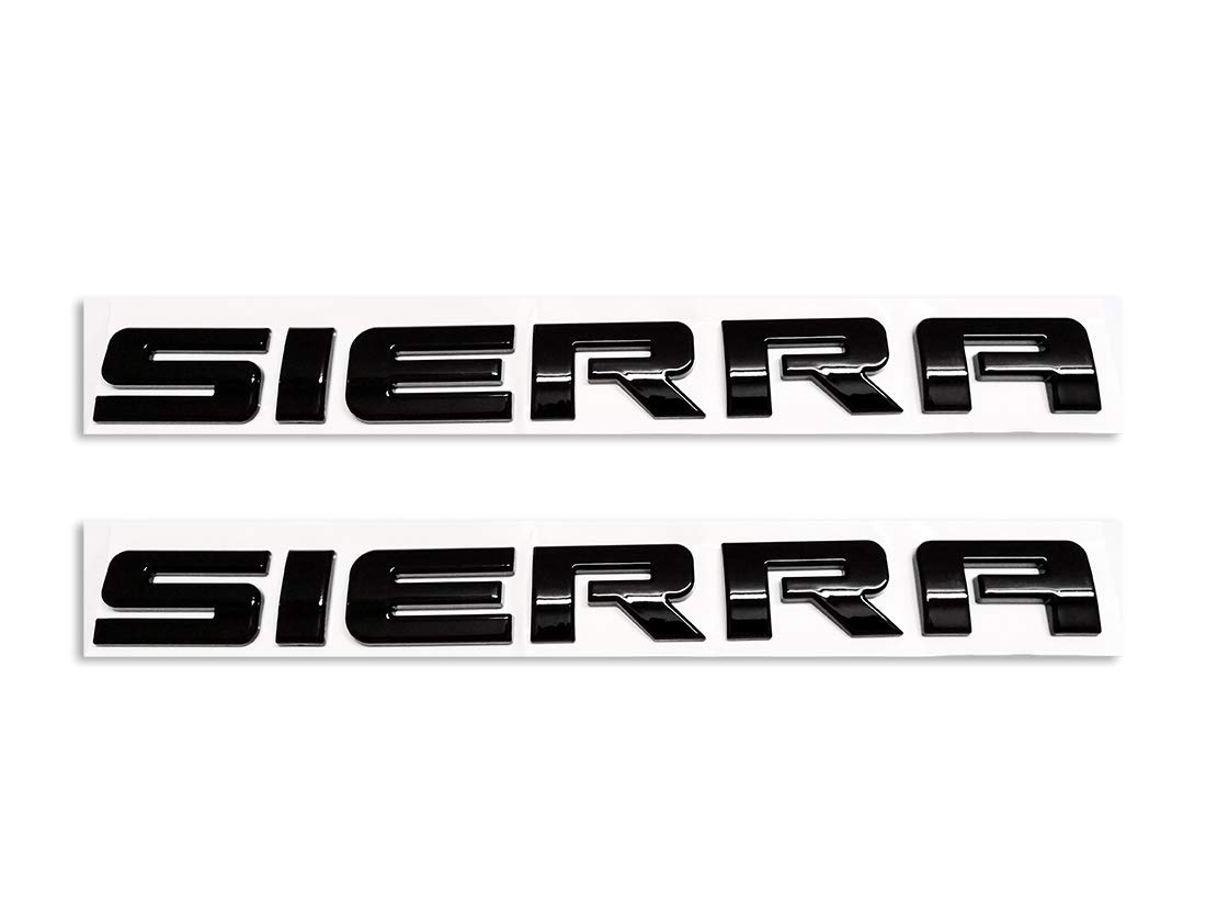 2pcs Sierra Nameplates Plastic Letter Emblem Badge Glossy Replacement for Gm 2500HD 3500HD Sierra /… Black