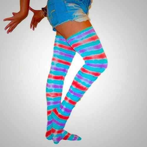 [Boho Thigh High Socks | Tie Dye | Incense and Peppermints] (Peppermint Costumes)