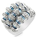 10K White Gold 2.00 Carat White and Treated Blue Diamond Ring - Size 7