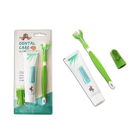 Yying Kit Dental para Mascotas, Cepillo de Dientes de Triple Cabeza, Paquete de Cepillo
