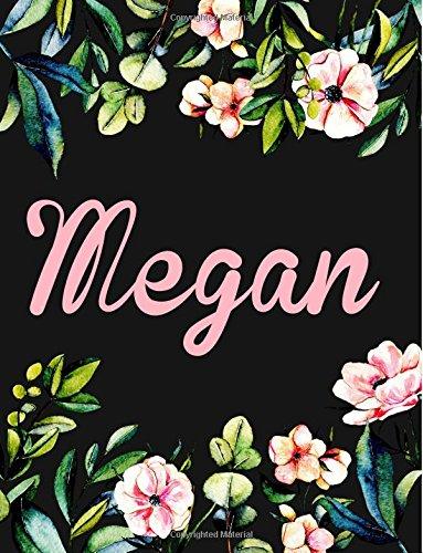 Read Online Megan: Personalised Megan Notebook/Journal For Writing 100 Lined Pages (Black Floral Design) pdf