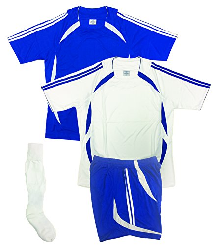 Soccer Uniforms for Team,Youth and Adult (4 PCS SET), (Home and Away Jerseys, One Short and One Pair of Socks) Red, Royal, Black, Purple, Navy (Youth X-Large 13-15 years, Royal/White)