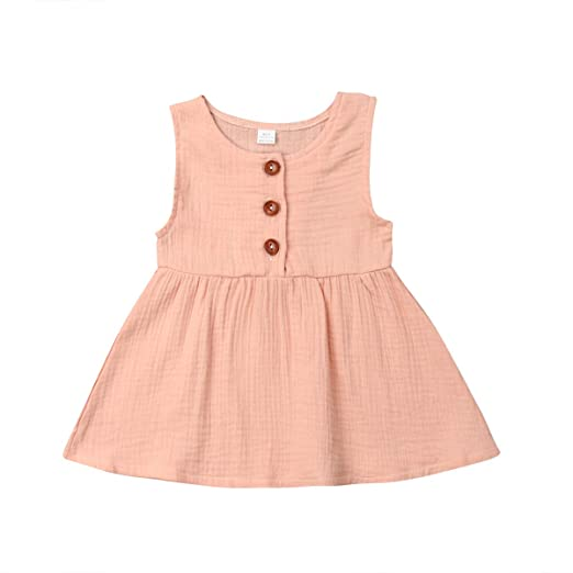 a3db28e182dcaa Toddler Baby Girls Sleeveless Tank Top Linen Swing Blouses Button Tunic  Shirt (0-6