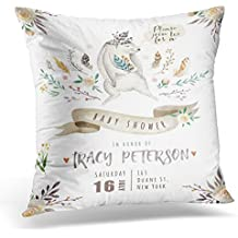 TOMKEYS Throw Pillow Cover Cute Baby Rabbit Animal for Kindergarten Bunny Nursery for Children Pattern Watercolor Boho Design Decorative Pillow Case Home Decor Square 18x18 Inches Pillowcase