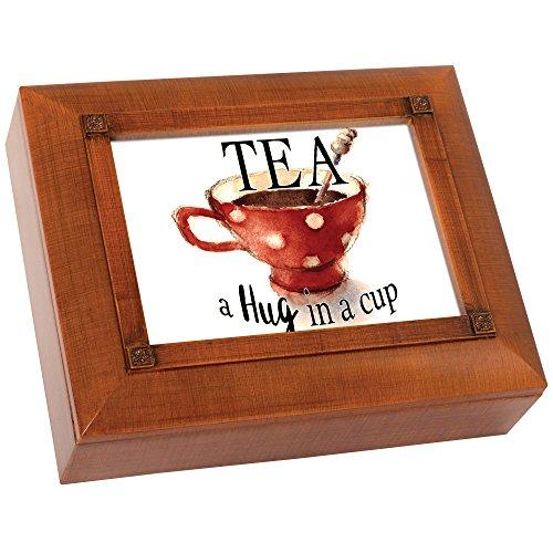 Tea A Hug in A Cup 10 x 8 Inch Woodgrain Tea Storage Jewelry Box