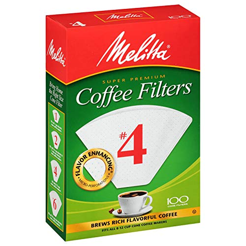 - MELITTA #4 Super Premium Cone Filters, Cone Coffee Filters, Replacement Filters, Coffee Maker Filters, 100 Count (Pack of 12)