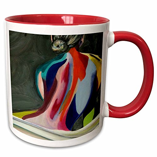 3dRose Melissa A. Torres Art Figurative - A colorful abstract painting of a woman with bun in her hair - 15oz Two-Tone Red Mug (mug_128265_10)