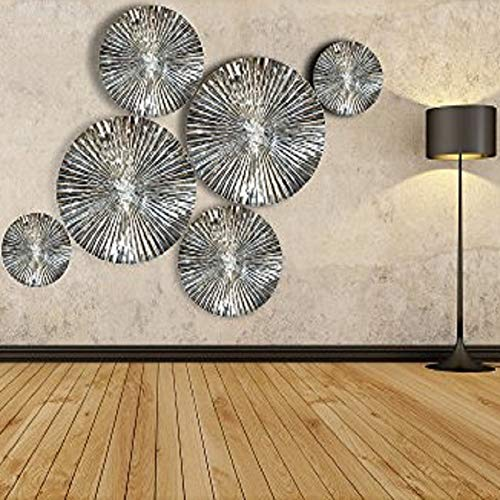 Decorlives Set of 6 pcs Mirror Finish Sunburst Aluminium Wall Sculpture Decorative 6 Pcs Mirror Finish Handmade Metal Wall Art Sculpture Wall Decor and Hanging Wall Hanging Wall Art and Wall Decor