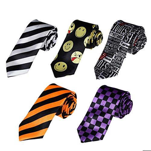 DANF0052 Various Colors Urban Slim Neckties 5pc Mixed Lot Polyester Skinny Ties Set - 5cm Width for Boys By Dan (Thin Mens Necktie)
