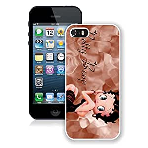 Fashion Custom Designed Cover Case With Betty Boop 2 For iPhone 5s White Phone Case 040
