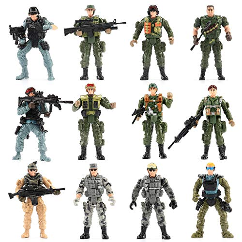 Army Men Figures - WW2 US Army Men and SWAT Team Toy Soldiers Action Figures Playset with Military Weapons Accessories for Kids Boys Girls,12Pcs