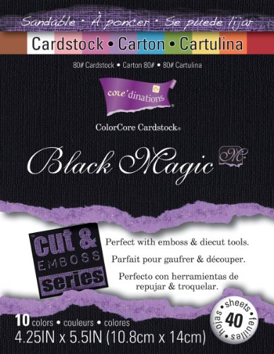 Darice GX-1710-01 40-Pack Core'dinations Black Magic Cardstock Paper Sheets, Hocus Pocus, 4-1/4 by 5-1/2-Inch