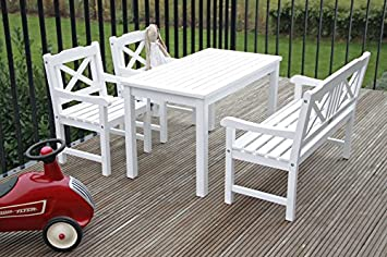 Kindergartenmöbelset 1 table, banc et 2 fauteuils blanc laqué en ...