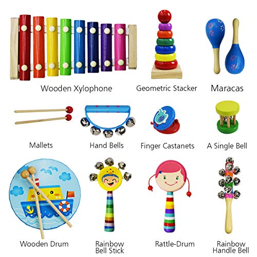 CACA Kids Musical Instrument Gift Set, ASTM Certified and FDA Approved Toddler Musical Toys, Kids Mini Band Musical Instruments Rhythm Xylophone Set for Percussion Toy