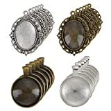 eBoot 12 Pieces Oval Pendant Trays and 12 Pieces Round Bezels with 24 Pieces Glass Dome Tiles Clear Cameo, 48 Pieces