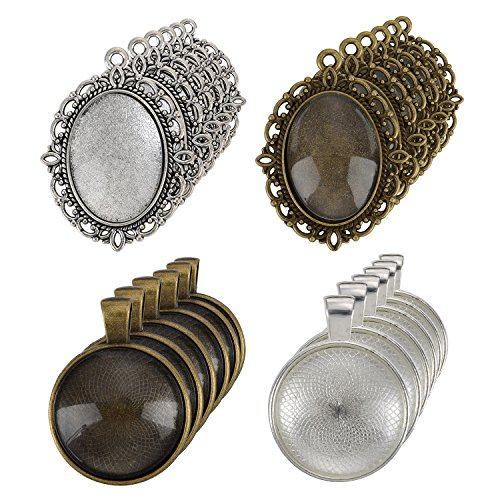Oval In Circle Pendant (eBoot 12 Pieces Oval Pendant Trays and 12 Pieces Round Bezels with 24 Pieces Glass Dome Tiles Clear Cameo, 48 Pieces)