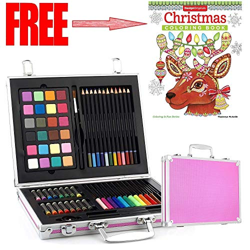 Gallery Studio- 69 Piece Deluxe Art Supplies Set in Pink Aluminum Case - (Quality Mediums Guaranteed)