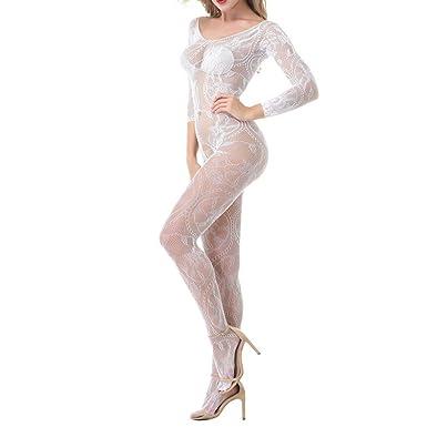 Bodystocking Sexy Mujer Lanskirt Mujeres Body Ropa Interior de Pijamas Mujer Verano Elegante Ropa de Dormir LenceríA Sexual Porn Hollow Piece Conjoined ...