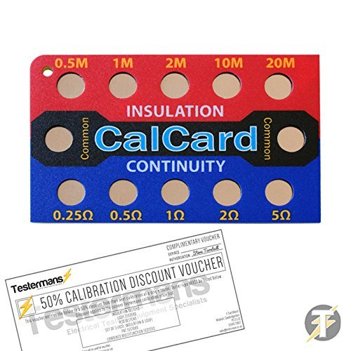 CalCard Calibration Checkbox Card for Fluke, Kewtech, Megger, Metrel Multifunction Testers, Check The Accuracy Of Your Electrical Test Equipment, Tests 5 Resistance Values (0.5, 1, 2, 10 & 20 Megohm) To 1500 Volt, Measures 5 Resistance Values For Continuit
